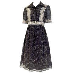 1970s Oscar De La Renta black and gold metallic  dress