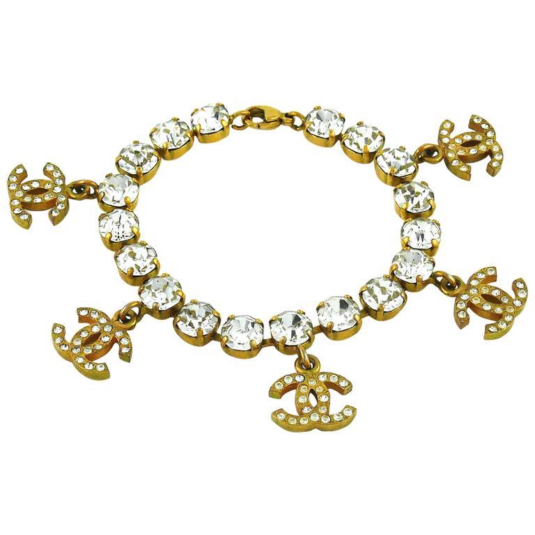 Chanel Vintage CC Charm Jewelled Bracelet 1