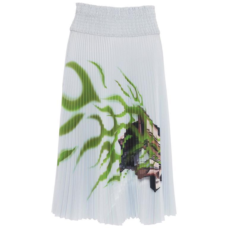 Prada Accordion Pleated Cadillac Car Print Skirt, Spring - Summer 2012 For Sale