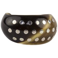 Hermes Wide Brown Horn Sterling Silver Studded Cuff Bracelet
