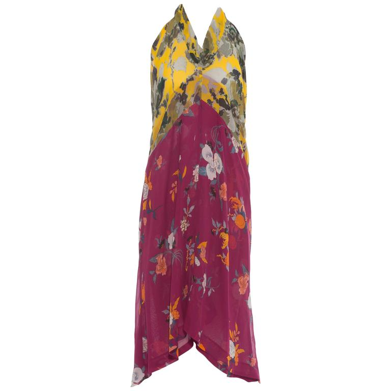 Dries Van Noten Floral Silk Chiffon Halter Dress, Spring - Summer 2008