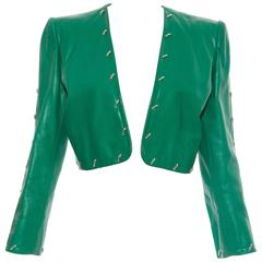 Givenchy Couture Leather Jacket With Silver Stud Embellishment, Circa 1980's