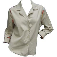 Bottega Veneta Italy Khaki Cotton Stitched Shirt
