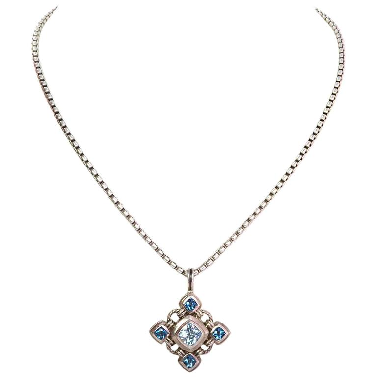 david yurman sterling and blue topaz pendant necklace at