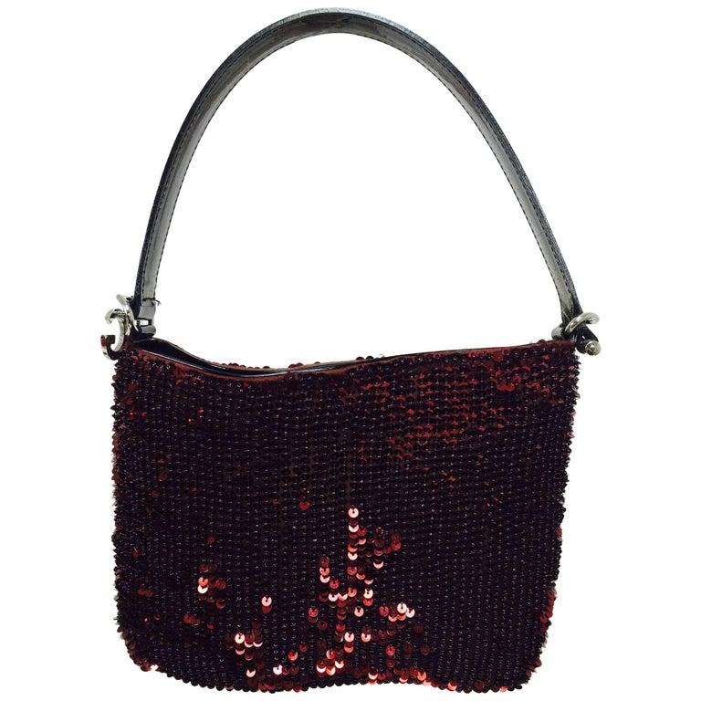 Dolce & Gabbana garnet red sequin & patent shoulder handbag silver hardware For Sale