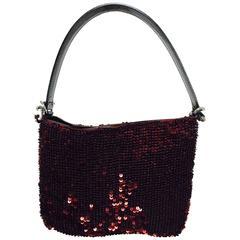 Dolce & Gabbana garnet red sequin & patent shoulder handbag silver hardware