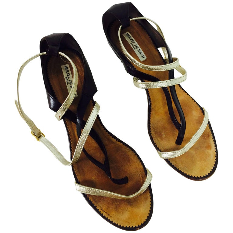 86ff2d2ad Herzel De Bach Rome dark brown, silver & gold leather kitten heel sandal 37  For