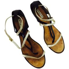 Herzel De Bach Rome dark brown, silver & gold leather kitten heel sandal 37