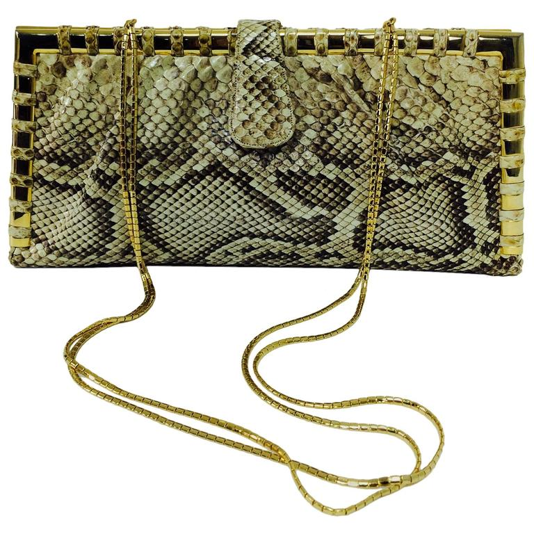 Judith Leiber natural python gold frame snake chain handbag or clutch  For Sale