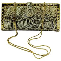 Judith Leiber natural python gold frame snake chain handbag or clutch