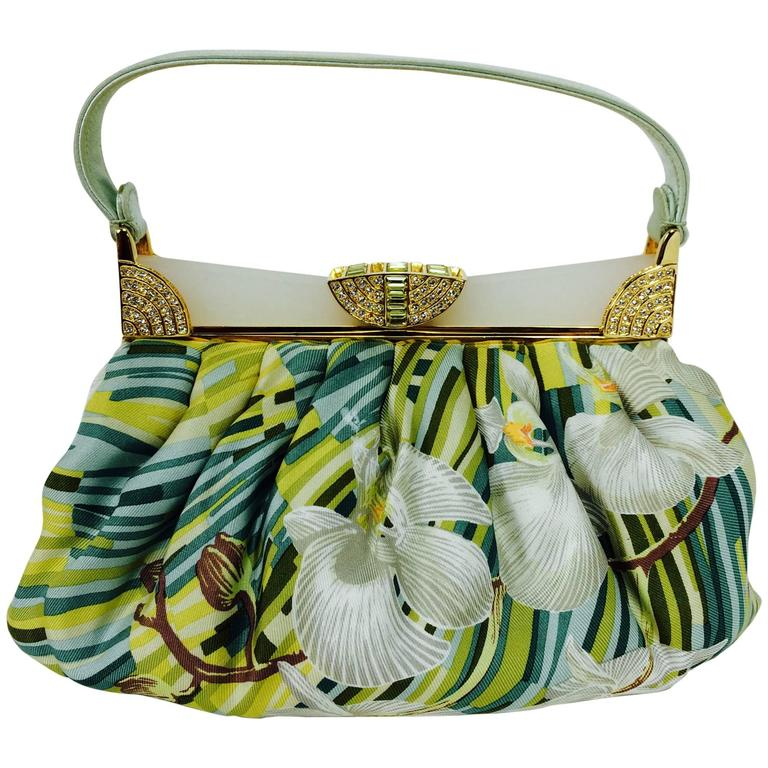 Judith Leiber plexiglass & jewel frame silk tropical orchid print handbag  For Sale