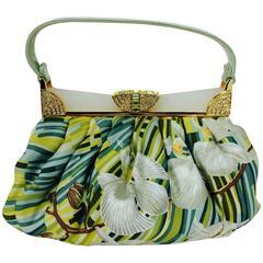 Judith Leiber plexiglass & jewel frame silk tropical orchid print handbag
