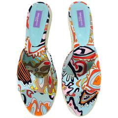 Pucci printed canvas rope heel mules 41M