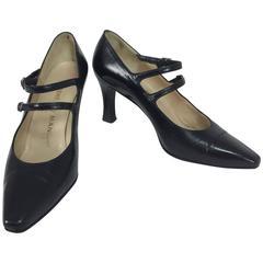 Rene Mancini glazed black calf double strap front high heel 37M