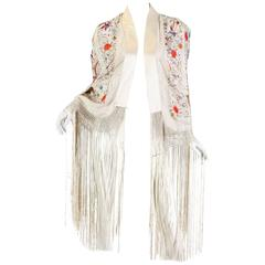 1940s style Fringed Cape made from an Antique Chinese Piano Shawl