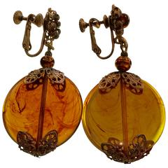 1960s MIRIAM HASKELL Mottled Amber Glass Disc Drop Earrings Goldtone Filigree