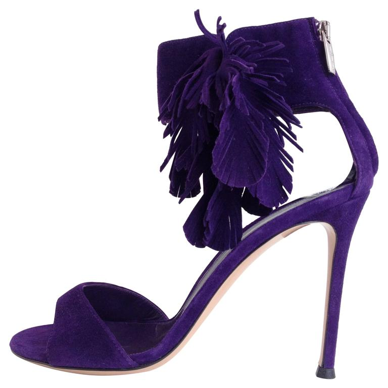 Gianvito Rossi Purple Suede Sandals For Sale