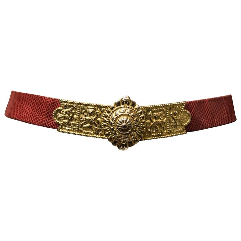 1980's Judith Leiber Red Lizard Skin Belt w/ Gold Tone Buckle