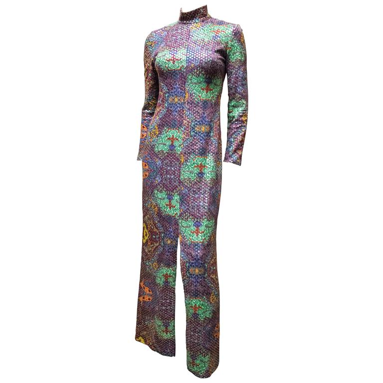 Malcolm Starr Sequined Psychedelic Dress, 1970s 1