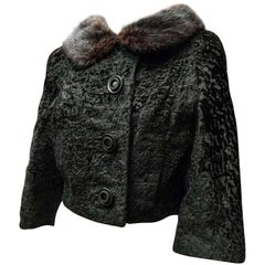 1960's Georges Kaplan Black Broadtail Cropped Jacket w/ Mink Fur Collar