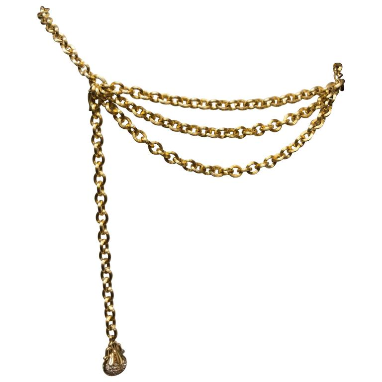 1980's Judith Leiber Gold Tone Chain Link Belt  For Sale