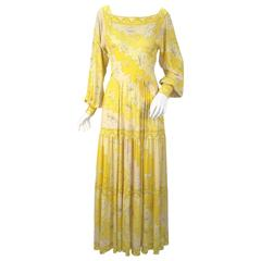 Emilio Pucci Yellow Silk Knit Abstract Olympic Print Maxi, 1970s