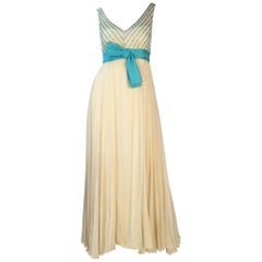 1960s Isabell Gerhart Cream and Turquoise Silk Beaded Evening Gown