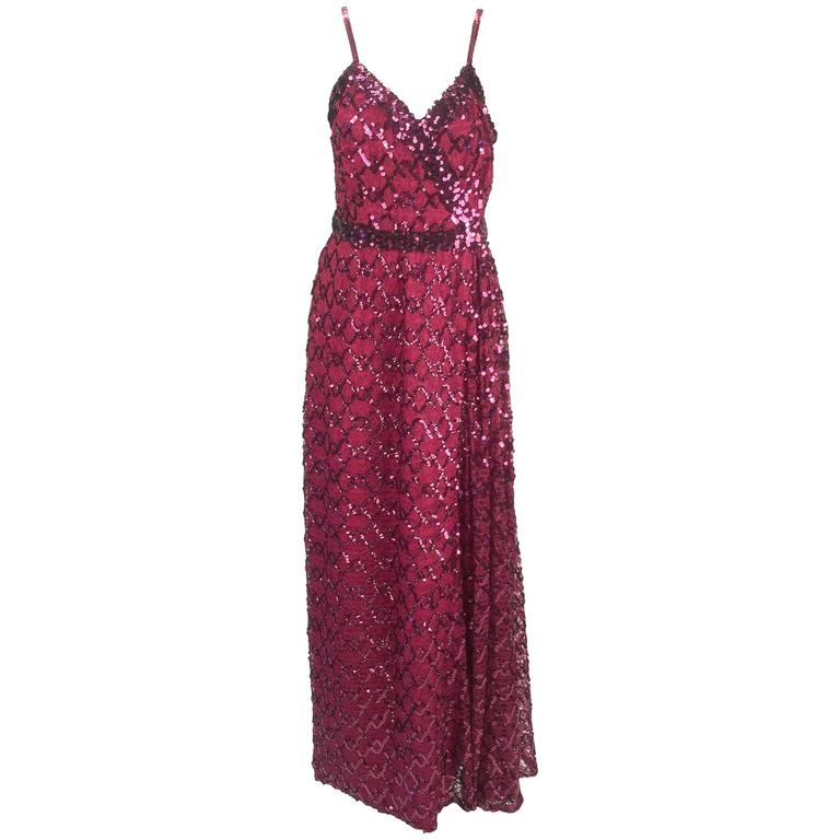 Lilli Diamond Maroon Sequined Evening Gown,  1970s
