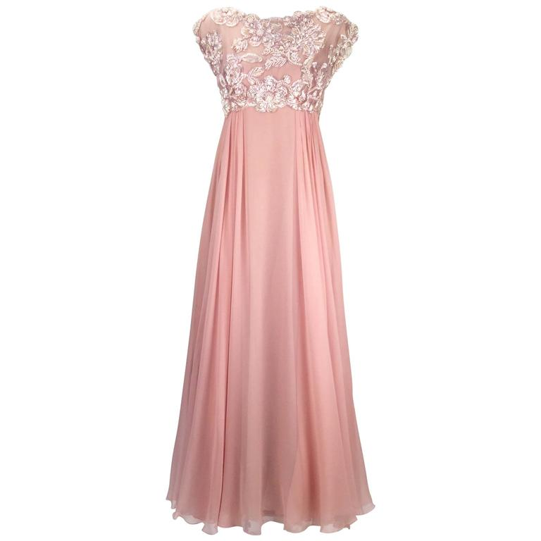 1960s Helen Rose Silk Pink Beaded Evening Gown For Sale at 1stdibs