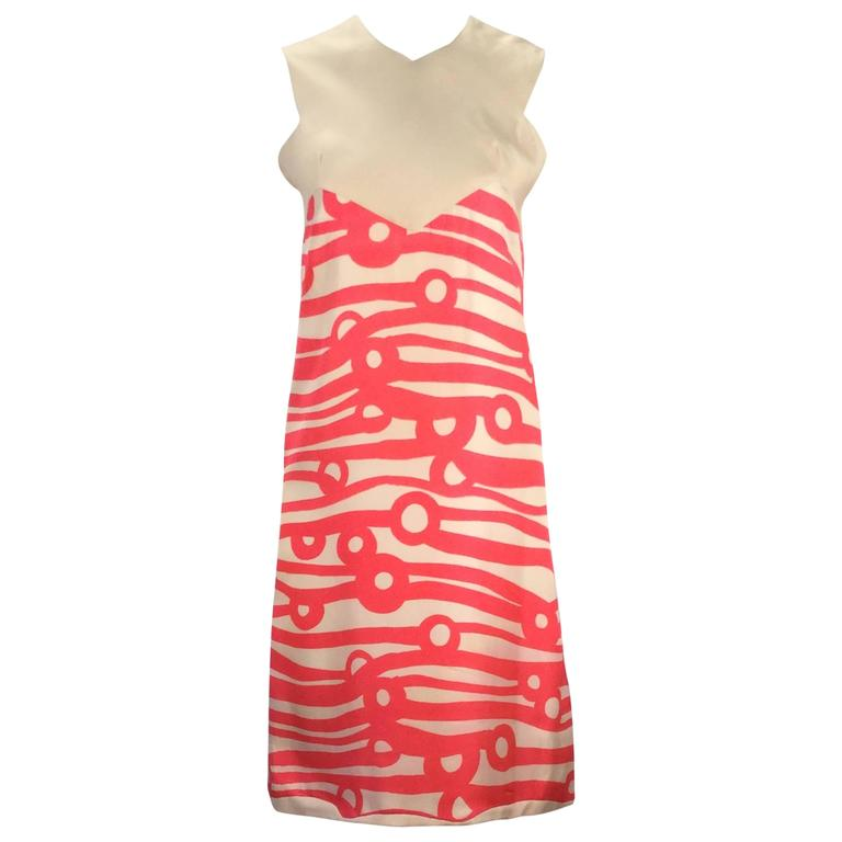 1960s Bright Pint Silk Dress with Abstract Mod Design
