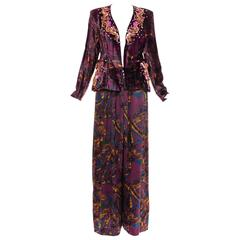 Christian Lacroix Printed Silk Charmeuse Palazzo Pant Suit, Circa 1980's