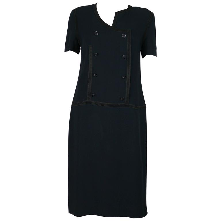 Chanel 2002 Cruise Collection Navy Asymmetric Dress