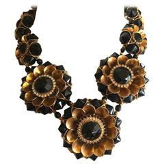William De Lillo Bold 1970's Graduating Floral Necklace with Jet and Crystal