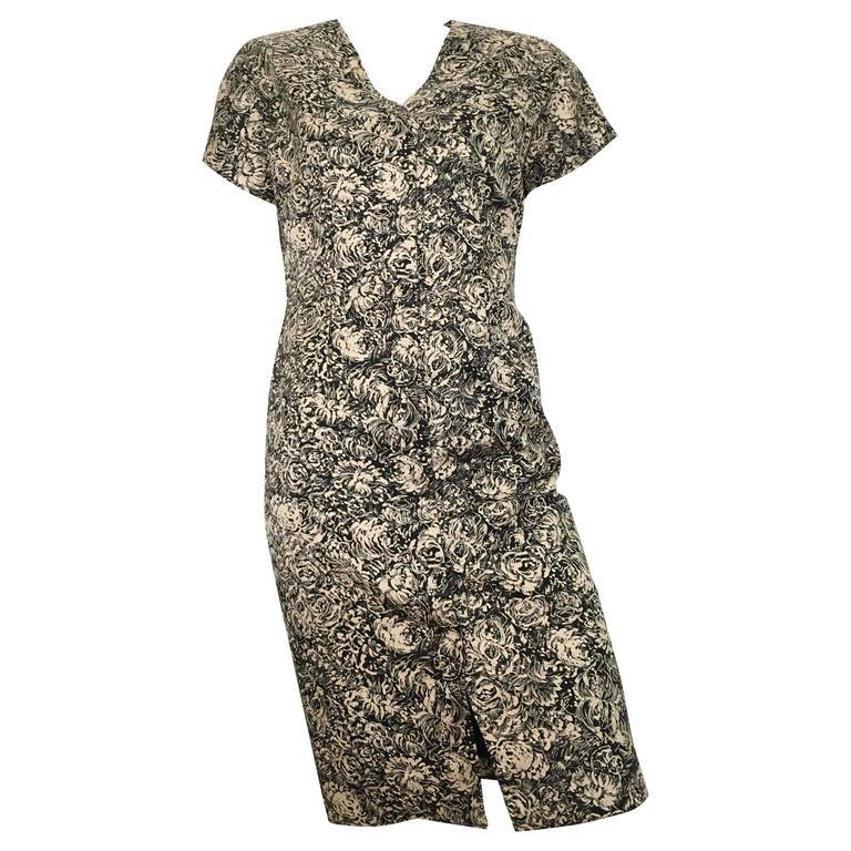 Bill Blass Silk Rose Pattern Button Up Dress Size 6.