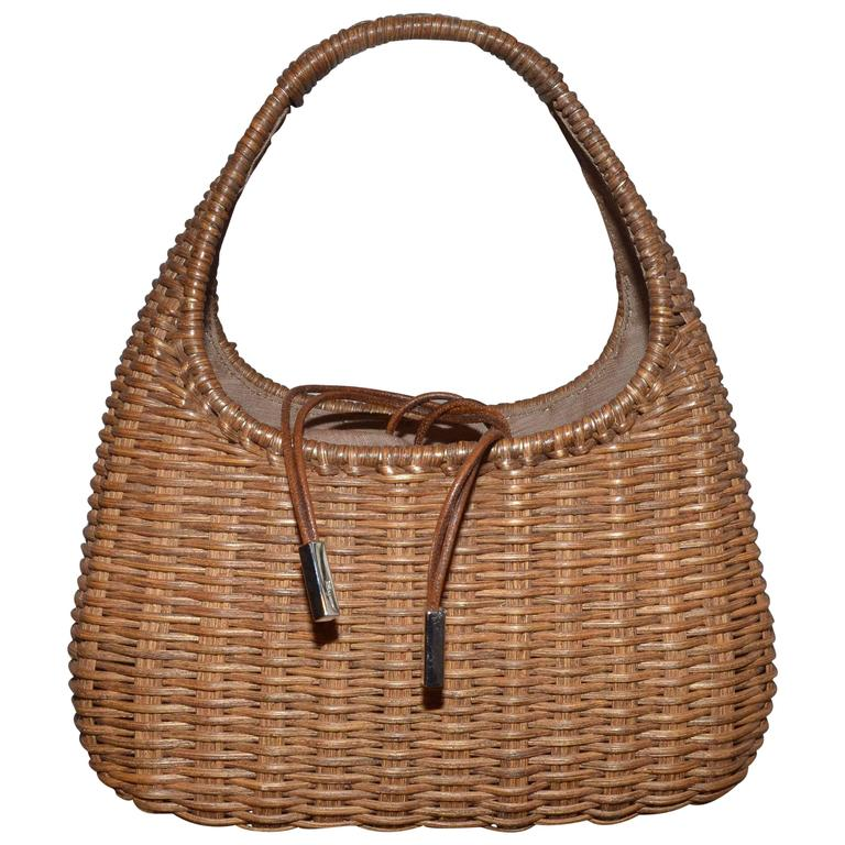f99aa2fde5f1 Salvatore Ferragamo Basket Weave Wicker Handbag at 1stdibs