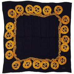 Chanel Black Paisley Silk Jacquard Scarf W Gold Chain & Double C Medallions