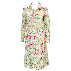 New Valentino Floral Print Raincoat With Mother of Pearl Buttons