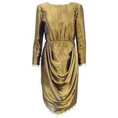 Chanel Antique Gold Metal & Silk Cocktail Dress With Faux Pearls and Crystals