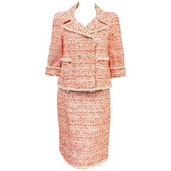 Chanel Double Breasted Paprika Red, Ivory and Tan Tweed Skirt Suit