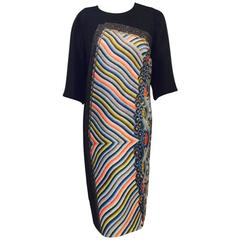 Abstract and Dramatic Dries Van Noten Black Silk and Wool Print Dress