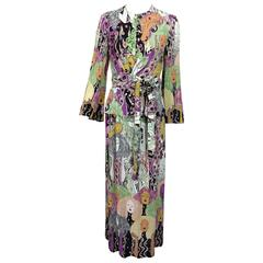 art nouveau style womens faces crepe print wrap waist dress 1970s