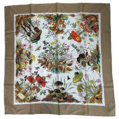 "Gucci silk mushroom insect scarf designed by  V. ACCORNERO 34"" x 34"""