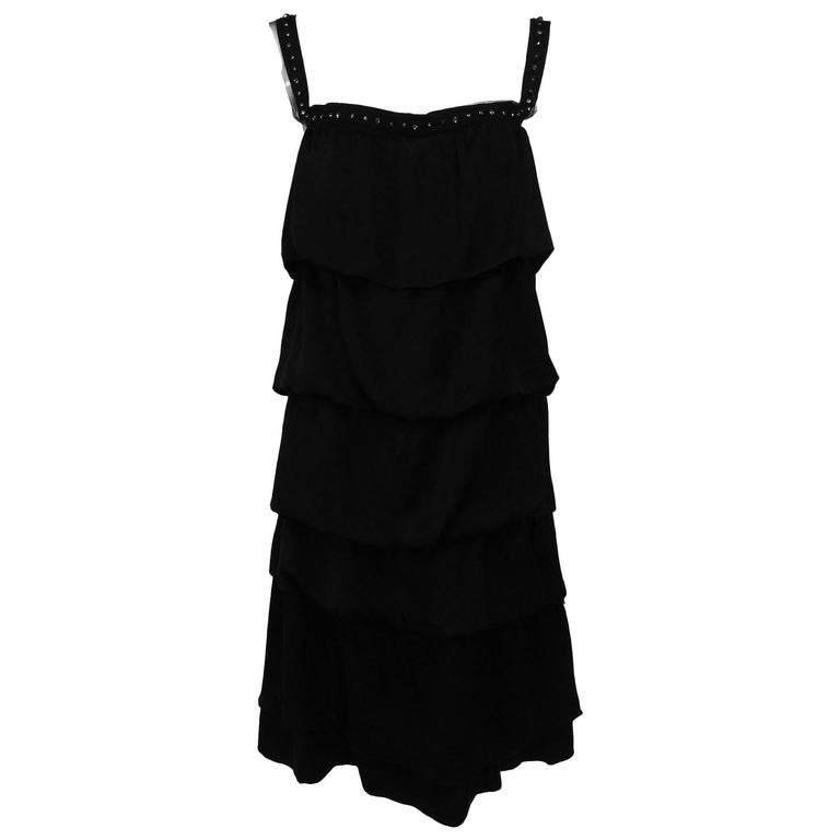 Lanvin Paris black silk tiered ruffle rhinestone shoulder 20s influenced dress For Sale