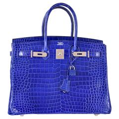 Hermes 35cm Birkin Bag Blue Electric Palladium Hardware JaneFinds