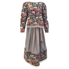 1970s Geoffrey Beene Floral Print Wool Crepe Blouse and Skirt Set