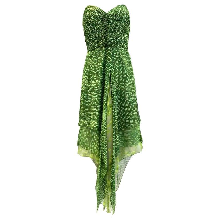 90s Oscar De La Renta green strapless silk chiffon gown with shawl