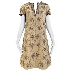 1960s Malcolm Starr coffee cream silk shantung dress with rhinestones