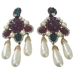 80s Larry Vrba faux pearl cabochon chandelier earrings
