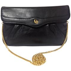 Vintage Christian Dior Vintage black leather clutch purse, mini bag, with chain.