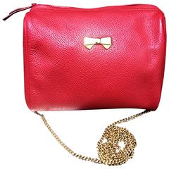 Vintage Nina Ricci red leather mini pouch purse with golden chain shoulder strap